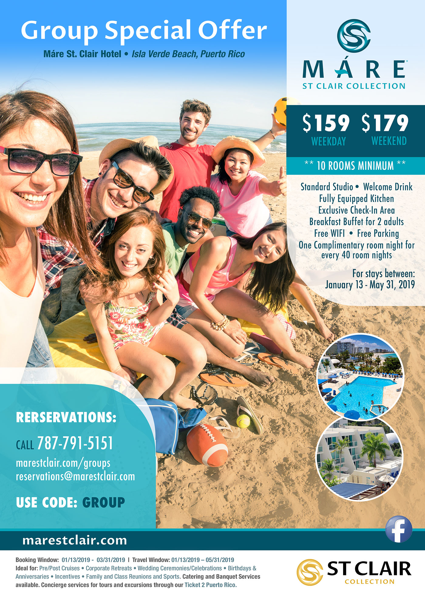 Mare St. Clair Hotel Group Special Rate Isla Verde Beach Puerto Rico