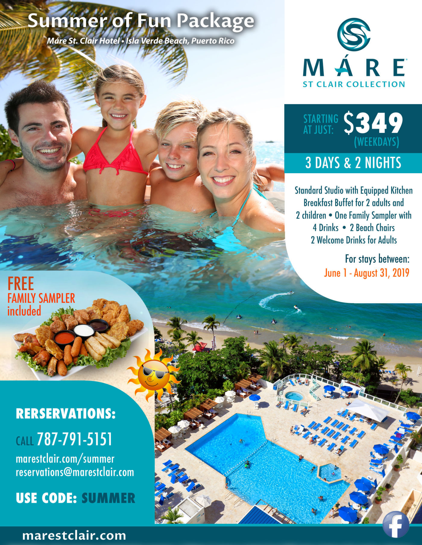 Summer of Fun Package, Máre St. Clair Hotel, Isla Verde Beach, Puerto Rico
