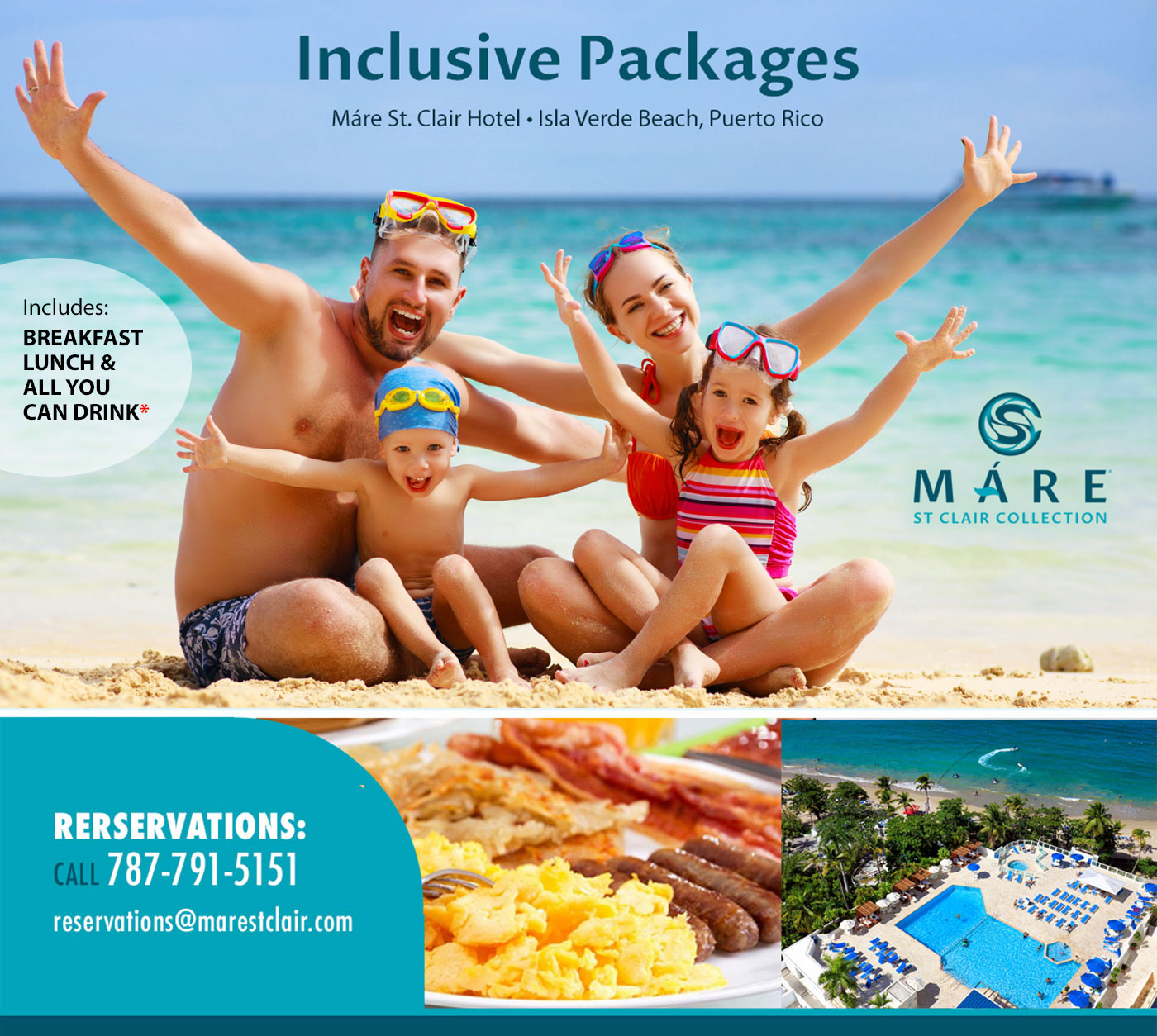 Inclusive Packages @ Mare St. Clair Hotel, Isla Verde Beach, Puerto Rico