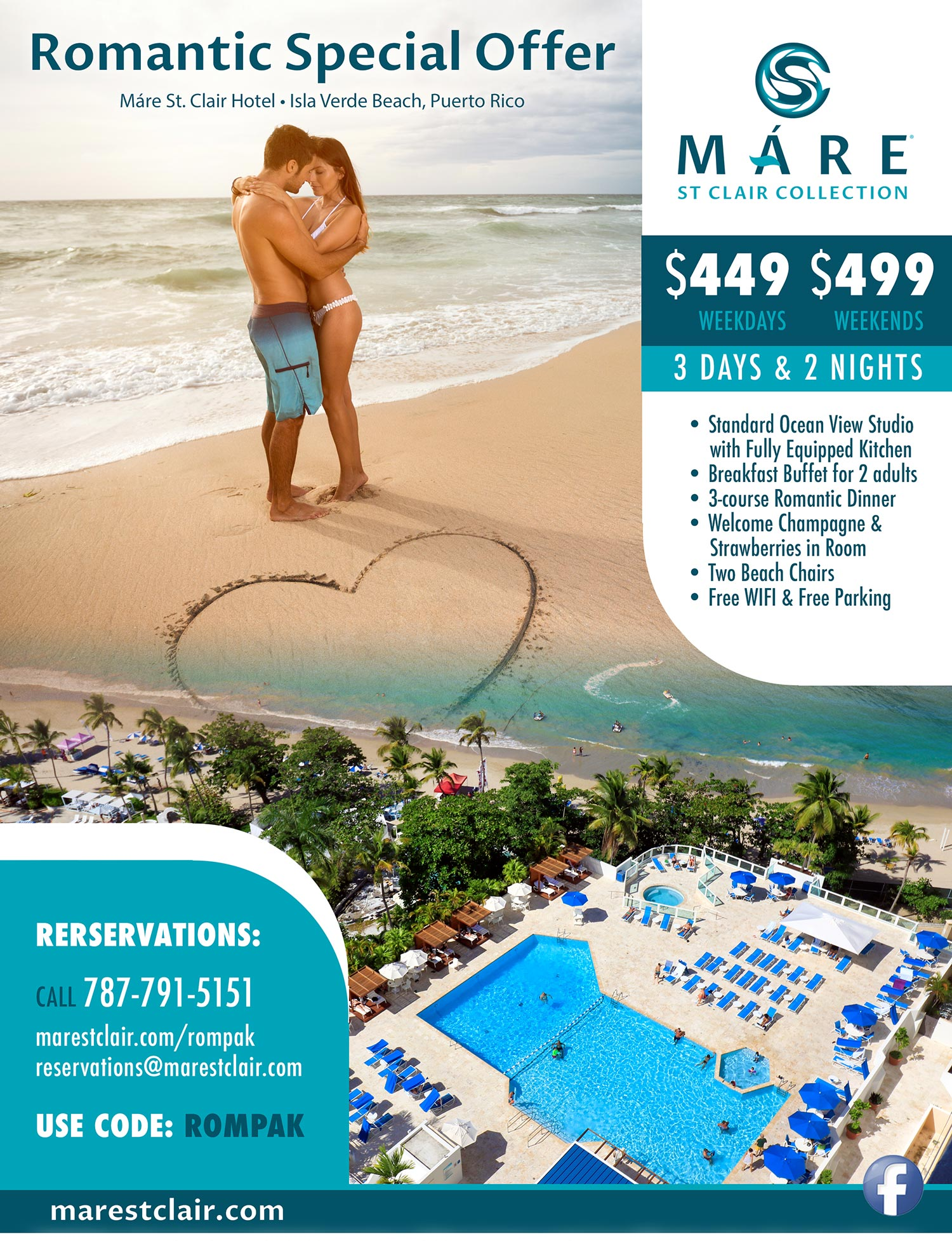 Romantic Special Offer Máre St. Clair Hotel, Isla Verde Beach, Puerto Rico