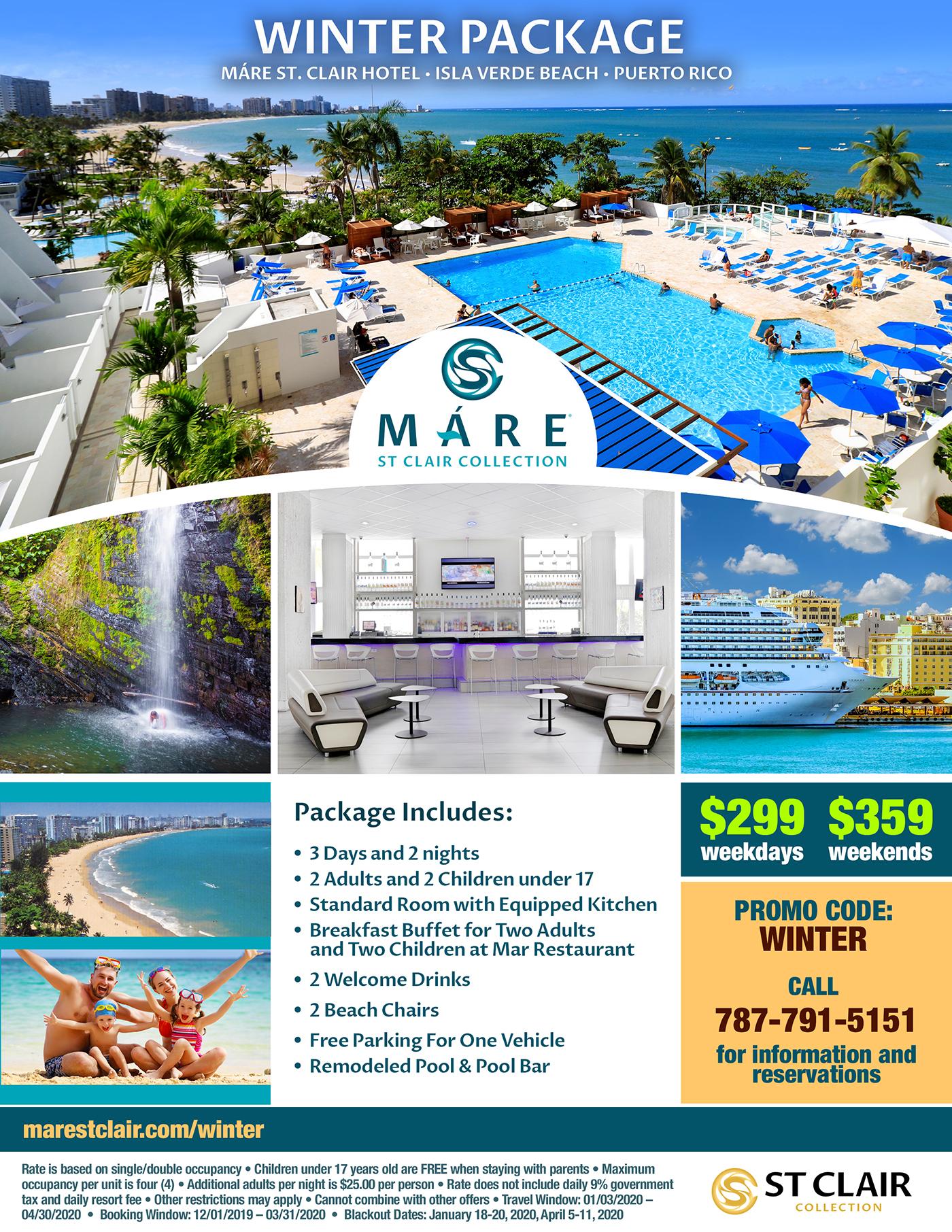 Máre St. Clair Hotel, Winter 2020 Special Offer, Puerto Rico, Isla Verde Beach